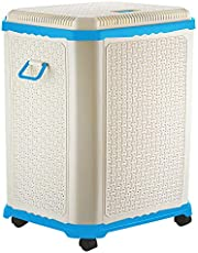 Primeway® Setag XL Multipurpose Laundry Hamper Utility Storage Basket with Lid on 4 wheels, 50 Litres, Light Blue