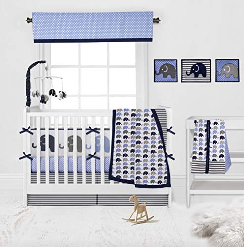 Bacati - Elephants Blue/Grey 10 Pc Boys Crib Baby Bedding Set Including Bumper Pad 100 Percent Cotton.