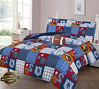 Gatton All Sports Patchwork Comforter Bed Sheet Set Window Panel Valance Kids Teens Size | Quilt Style QLTR-291267475