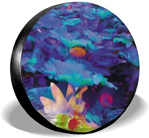 MODORSAN Colorido Lotus Leaf - Cubierta de Rueda de Repuesto para neumáticos, Cubiertas de poliéster universales para Ruedas para Jeep, Remolque, RV, SUV, camión, Accesorios, 17 Pulgadas