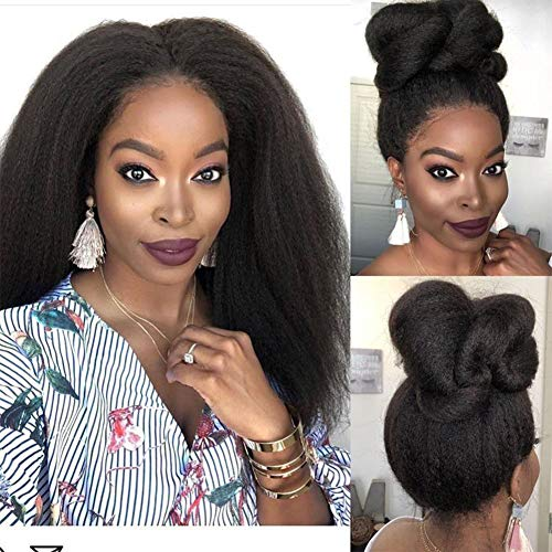 Wowsexy hair Kinky Straight 13x4 Lace Front Human Hair Wigs Pre-plucked Brazilian Human Hair Wigs for African American Women with Baby Hair (16 inch, Lace Front Wig)