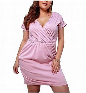 Summer Dress Women's Short Sleeve V-Neck Plus Dress (Color : Pink, Size : 2XL)