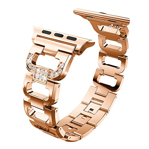 KOMI Correa de reloj de acero inoxidable compatible con iwatch Series 6, 5, 4, 3, 2, 1, 38 mm, 40 mm, correa de repuesto tipo D (38/40 mm-rosa).