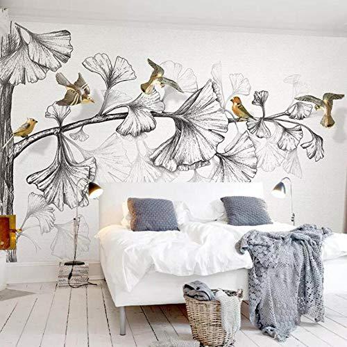 Ginkgo 3D-fotobehang, kleur wit en zwart, vogels, wandfoto, voor slaapkamer, woonkamer, tv, banken en muurschildering, decoratie voor thuis, afmetingen 400 x 280 cm