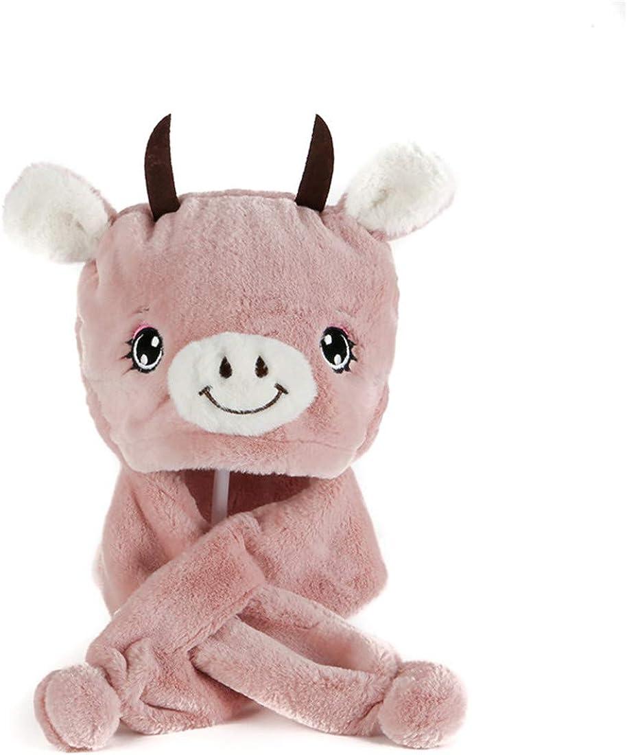 Cute Plush Animal Winter Hat Warm Fashion Baby Girls Cute Hat with Fleece Lining 2-5T