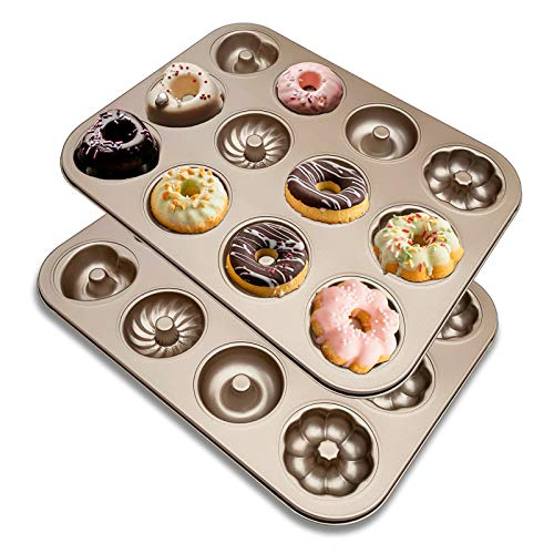 iprotech Donut Pan-2 Pack, 12-Cavity Non-Stick Carbon Steel Cake Bagel Baking Doughnut Mold For Oven Baking (2 Pack)