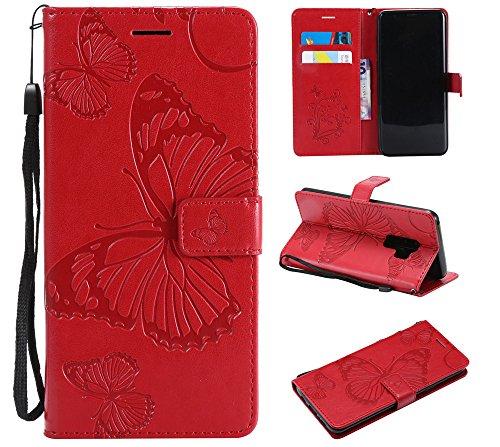 Ooboom Nokia Lumia 630/635 Coque Modèle 3D Papillon Prime PU Cuir Flip Folio Housse Étui Cover Case Wallet Portefeuille Support Dragonne Fermeture Magnétique pour Nokia Lumia 630/635 - Rouge