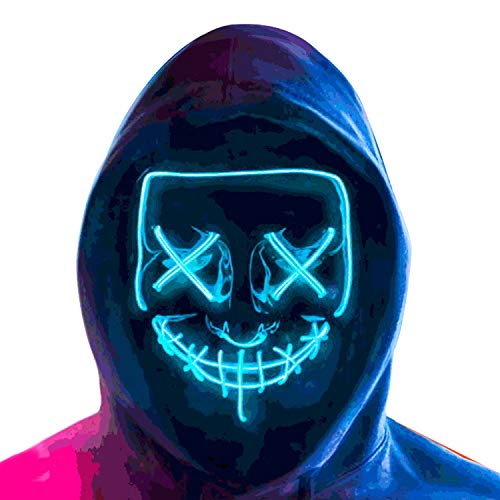 Halloween face Led Light Up Mask, Purge Mask, Scary EL Wire Light up Mask Cosplay Led Costume Mask for Halloween Festival Party