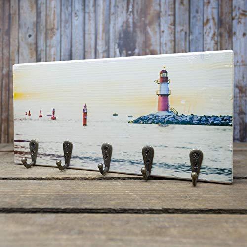 elbPLANKE mit Haken - Ostsee Warnemünde | 12x24 cm | Schlüsselbrett von Fotoart-Hamburg | mit 5 Antike Haken aus Holz (Kiefer/Fichte) - 100% Handmade