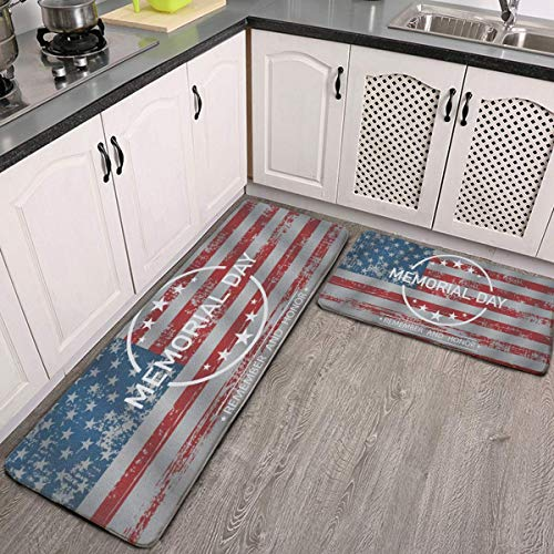 Kitchen Mat 2 PCS Cushioned Anti-Fatigue Kitchen Rug Memorial Day American Flag Vintage Waterproof Non-Slip Kitchen Mats and Rugs Ergonomic Comfort Standing Foam Mat for Kitchen