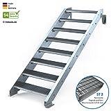 Außentreppe 8 Stufen 80 cm Laufbreite - ohne Geländer - Anstellhöhe variabel von 150 cm bis 180 cm- Gitterroststufe ST2 - feuerverzinkte Stahltreppe mit 800 mm Stufenlänge als montagefertiger Bausatz