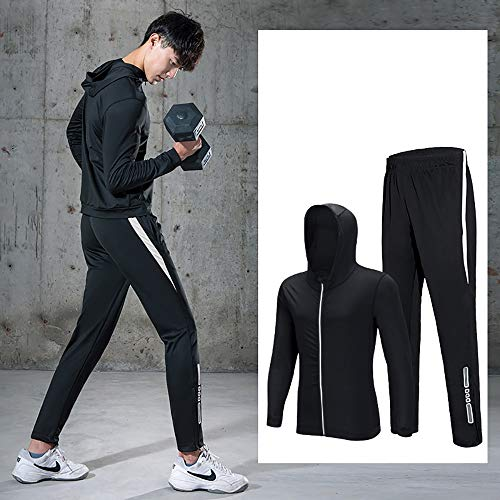 Mens Gym Laufkleidung Herren Sportswear beiläufige Klage Frühling und Herbst Fitness Kleidung Zweiteilige Sport Schnelltrocknendes Sport-T-Shirt (Farbe : B, Size : XXL)