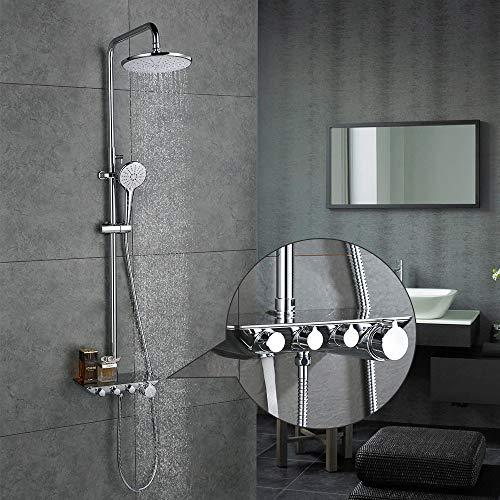 Desfau Duschset Duschsystem Duscharmatur 3-Funktion Dusche mit Regal Regendusche Rainshower inkl. Handbrause Überkopfbrause Brausestange