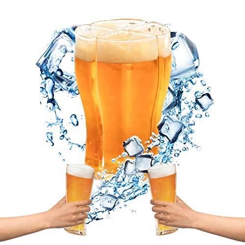 Yisscen Vasos de Cerveza 4 en 1, Jarras de Cerveza Super Schooner Anti-caída Que Puedas Llevar fácilmente 4 Vasos de Cerveza a la Vez para Fiestas, Vacaciones, Jarras De Cerveza En Bares(Grande)