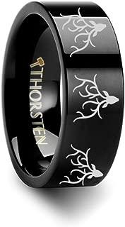 Thorsten ELK Antler Rack Animal Deer Print Pattern Flat Tungsten Ring 4mm Wide Wedding Band from Roy Rose Jewelry