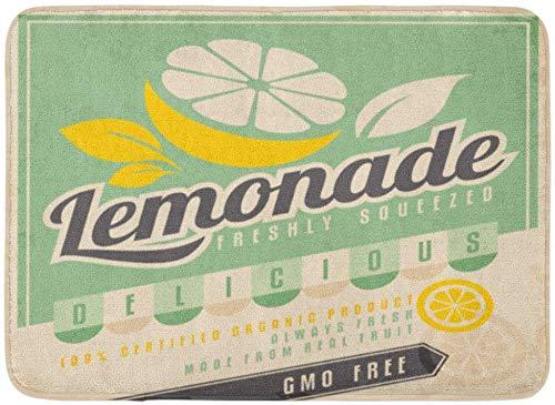AdaCrazy Retro eiskalte Limonade Vintage Label GMO-frei Bio-Obst Produkt Essen Trinken Werbeartikel Hintergrundmuster Flanell Bodenmatte verhindern Schleudern super saugfähiger 3D-Druck 60x40cm