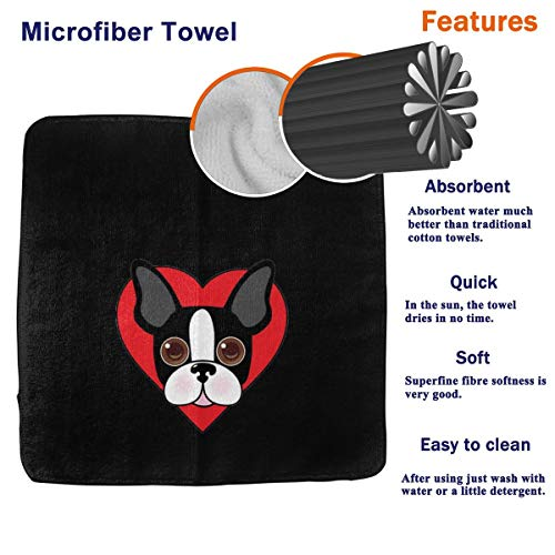 PJKOGMBJ Boston Terrier Face Face Towel,Hand Towel,Kitchen Towels Dish 3D Design Pattern Towel,Towels for The Kitchen,Cleaning,Cooking,Baking,Dishwashing Towel