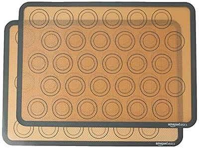 Amazon Basics Silicone, Non-Stick, Food Safe Baking Mat, Macaron - Pack of 2