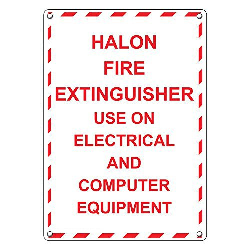 Weatherproof Plastic Vertical Halon Fire Extinguisher Use On Electrical Sign with English Text