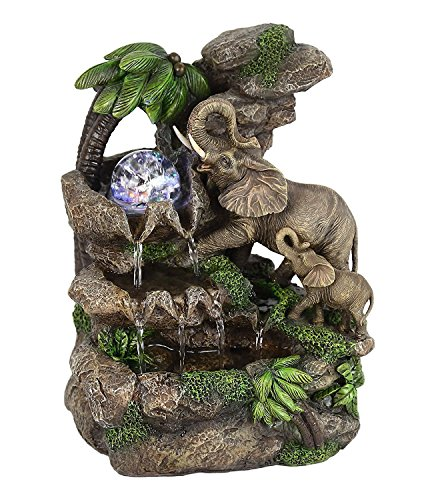 "OK Lighting FT-1225/1L 11.00"" H Elephant Table Fountain"