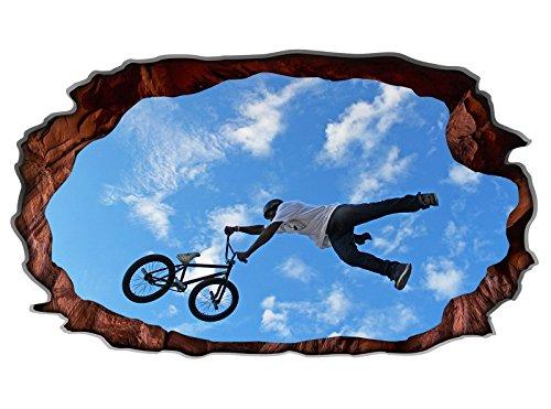 3D Wandtattoo Fahrrad BMX Mountainbike Sport bike selbstklebend Wandbild Wandsticker Wohnzimmer Wand Aufkleber 11G156, Wandbild Größe F:ca. 97cmx57cm