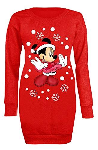 Custom World Mujeres señoras Lindo Minnie Mouse Copos de Nieve Navidad Largo Puente Mini Vestido 34-46