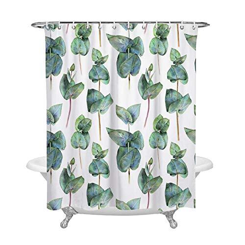 RIOENX Shower Curtain Grüne Pflanze, Tropisches Dschungelgras Dunkel Grün Blatt Muster Bad Vorhang ,Badezimmerzubehör (180x 180 cm, Stil 16)