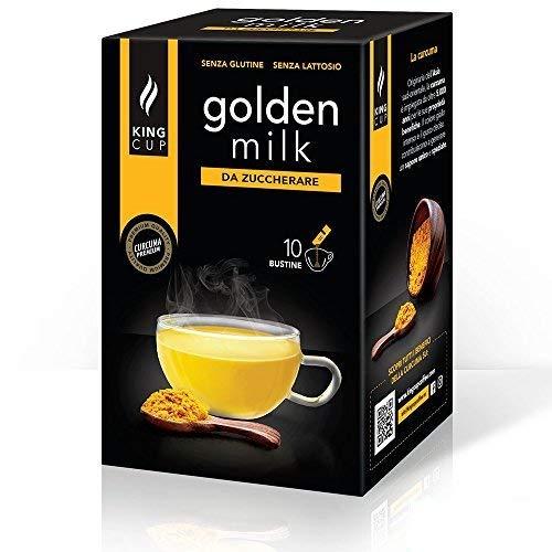 King Cup - 1 Confezione da 10 Bustine Solubili di Golden Milk da Zuccherare, 10 Stick da 6 Gr per Bevanda al Gusto di Golden Milk da Aggiungere a 60 Ml di Acqua Calda, Senza Glutine e Senza Lattosio