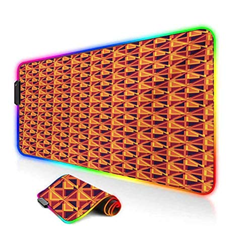 RGB Gaming Mouse Pad Mat,Triangles and Rhombuses with Warm Colors Retro Inspirations Abstract Illustration Non-Slip Mousepad Rubber Base,35.6'x15.7',for Game Players,Office,Study Multicolor