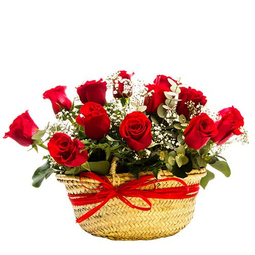 Capazo 12 Rosas Rojas