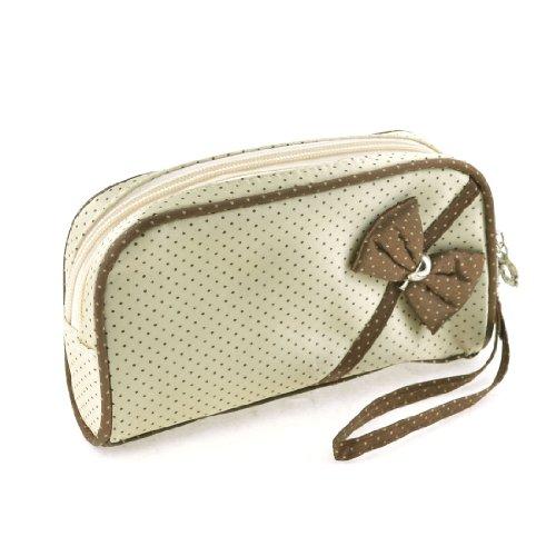 Sourcingmap Bowknot Decor Front Cosmetic Bag Rits portemonnee, Light Beige