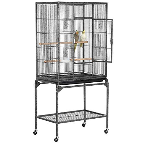 YAHEETECH 54-inch Wrought Iron Standing Large Parrot Parakeet Flight Bird Cage for Small Parrot Cockatiel Sun Parakeet Green Cheek Conure Lovebird Budgie Finch Canary Bird Cage with Stand