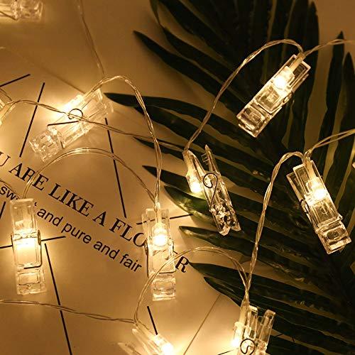 Led-ketting, lichtsnoer, gordijn, ramen, tuin, buiten, feeën, zomer, lichte ketting, werkt op batterijen, clip, warm licht, 3 meter, 30 lampen