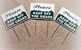 COLIBROX 3 Please Keep Off The Grass 8'X12' Plastic Plate Novelty Coroplast Signs with Stake for Home Yard Garage Shop Office Man Cave Business Decor