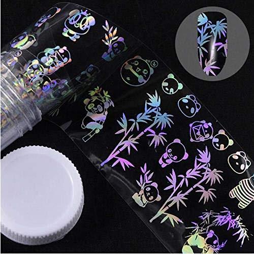 Autocollants à ongles mignons 4 * 100 cm/rouleau feuille d'ongle holographique flamme pissenlit panda bambou Holo Nail Art transfert autocollant toboggan aquatique Nail Art décalcomanies-JQ300-,
