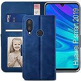 YATWIN Handyhülle Huawei P Smart 2019 Hülle, Klapphülle Huawei P Smart 2019 Premium Leder Brieftasche Schutzhülle [Kartenfach][Magnet][Stand] Handytasche für Huawei P Smart 2019 Hülle, Blau