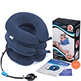 Neck Traction Device - Inflatable & Adjustable Neck Stretcher Collar, Instant Pain Relief for Chronic Neck and Shoulder Pain  with Massage Ball (Dark Blue)