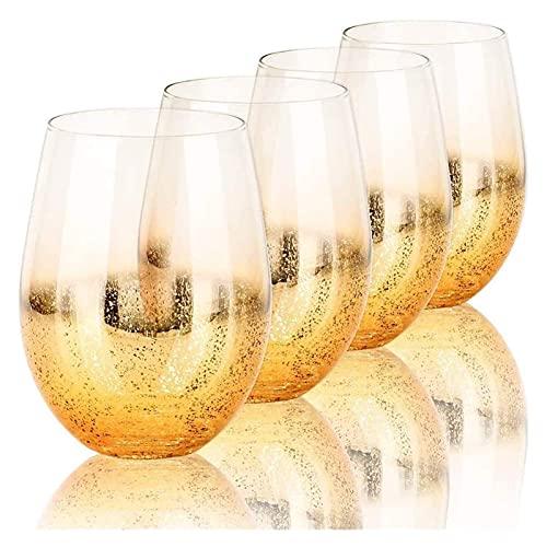Vaso Decantador De Whisky, Juego De 4 Vasos De Cóctel De 18,6 Oz, Juego De 4 Vasos De Cerveza, Vasos De Beber Brillantes Dorados, Vaso De Bebidas para Decantador De Jugo De Agua