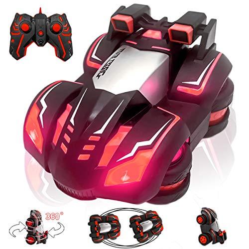 BeebeeRun Ferngesteuertes Auto 336-82J, Cars Auto 2,4 GHz 360 ° Spins & Rollover LED-Licht mit Einstellbarer Frequenz, Elektrische Autos für Jungen und Mädchen (Rot)