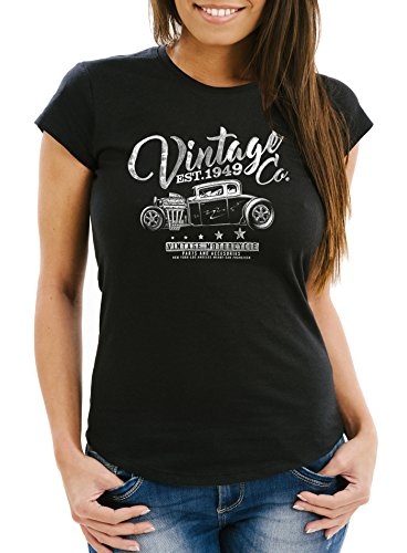 Preisvergleich Produktbild Neverless Damen T-Shirt Hot Rod Retro Auto Vintage Car Oldschool Mobile Slimfit schwarz L