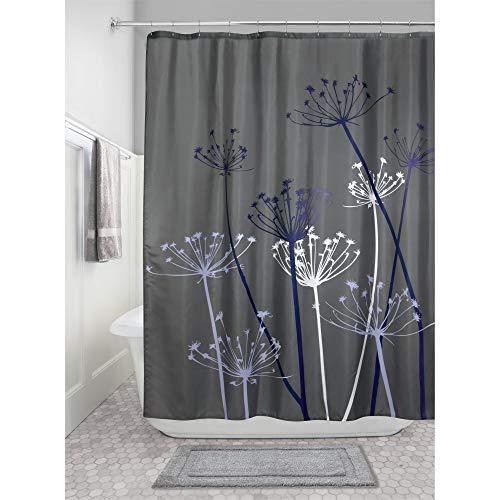 iDesign Thistle Duschvorhang | 183,0 cm x 183,0 cm großer Badewannenvorhang | waschbarer Duschvorhang aus weichem Stoff | mit Blumen-Motiv | Polyester grau/violett