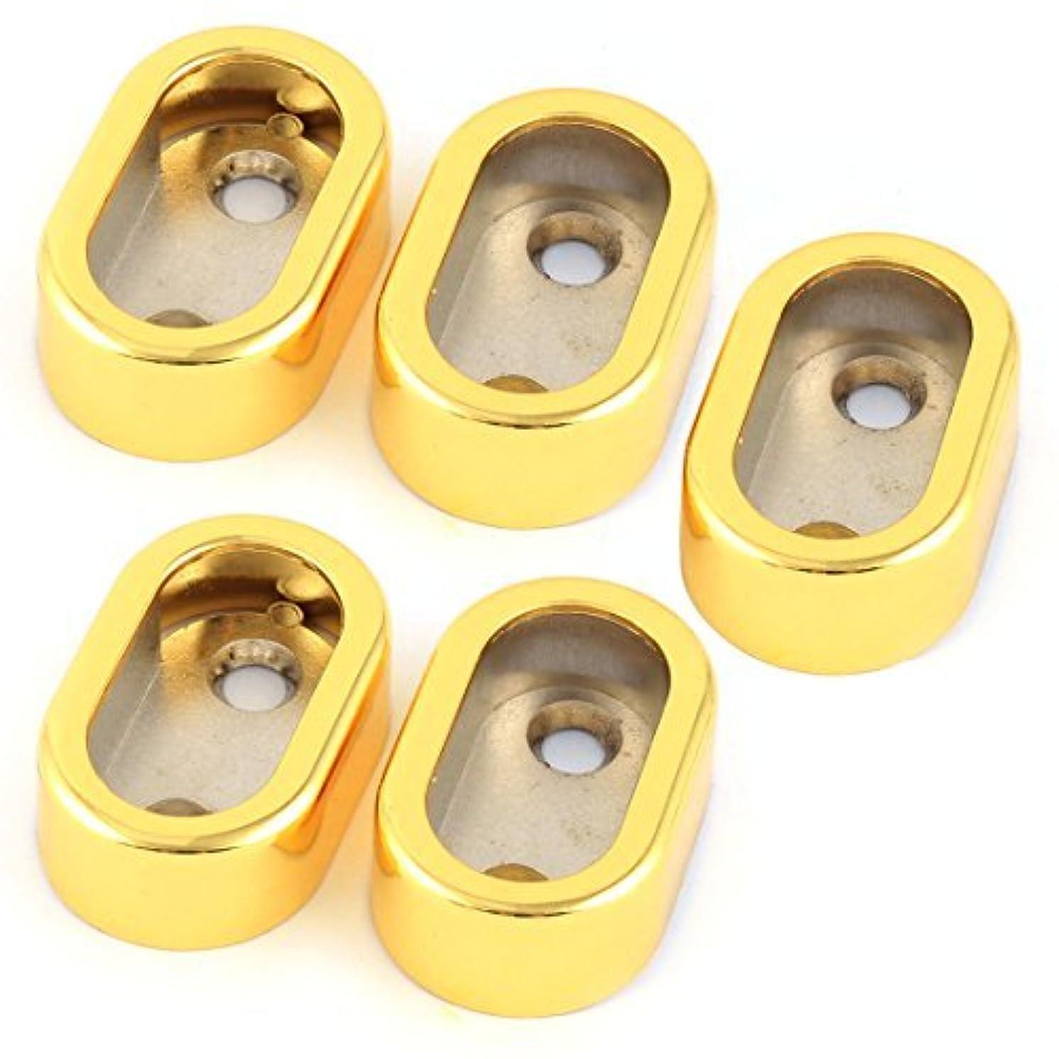 DealMux Metal Home Garment Clothes Closet Rod Holder End Support Socket Bracket 5pcs Gold Tone