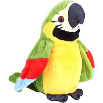 ぬいぐるみ 話すオウム 鳥ロボット ペットロボット 喋る鳥ぬいぐるみ 録音 可愛い 人形おもちゃ 知育玩具 誕生日 クリスマス 新年 贈り物 プレゼント 女の子 男の子 生産お祝い (グリーン)