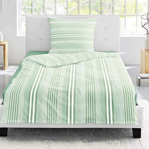 Irisette Mako-Satin Bettwäsche Capri Halifax grün 1 Bettbezug 135x200 cm + 1 Kissenbezug 80x80 cm