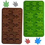 Weed Silicone Leaf Cannabis Mold, Gummy, Marijuana Pot, For Muffins Cookie Chocolate Fondant Greenery Candy Polymer Clay Edible Hemp 1 Green and 1 Brown , 2 Molds