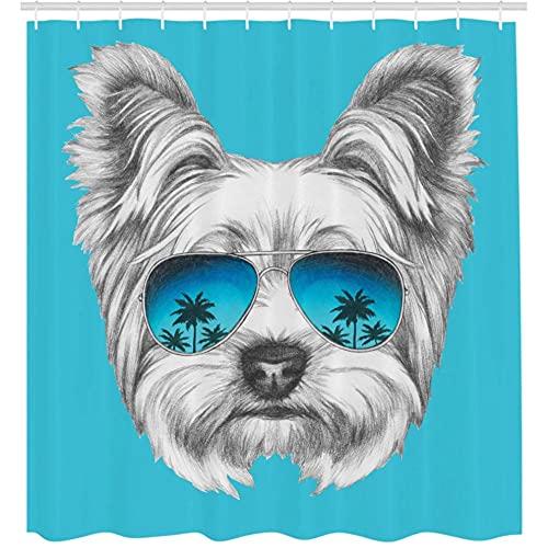 Cortina de Ducha Retrato con Gafas de Sol de Espejo Fresco Arte Animal Dibujado a Mano-XL