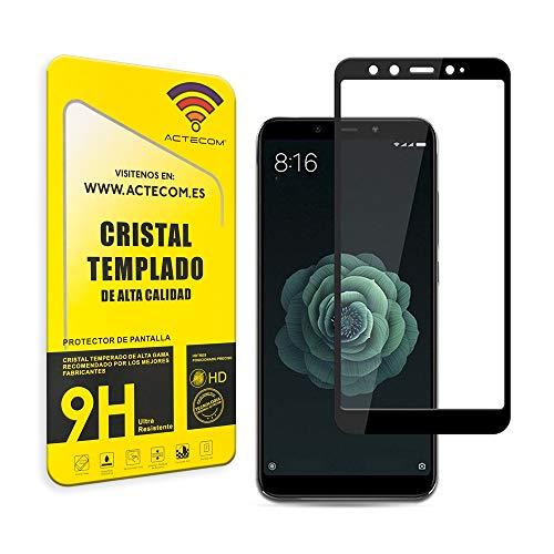 actecom® Protector Pantalla Completo 3D 5D Negro Cristal Templado para XIAOMI MI A2