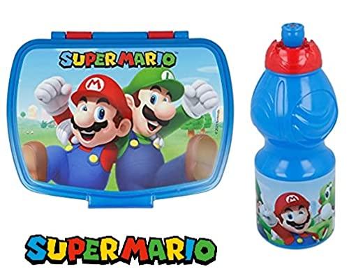 Set Pranzo Scuola 2 Pezzi Portamerenda e Borraccia in Plastica Bambini Bambino Merenda Launch Box - BPA Free (Super Mario)