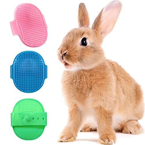 3 Pieces Rabbit Bunny Grooming Brushes Pet Bath Brush Massage Combs Hand Brushes with Adjustable...