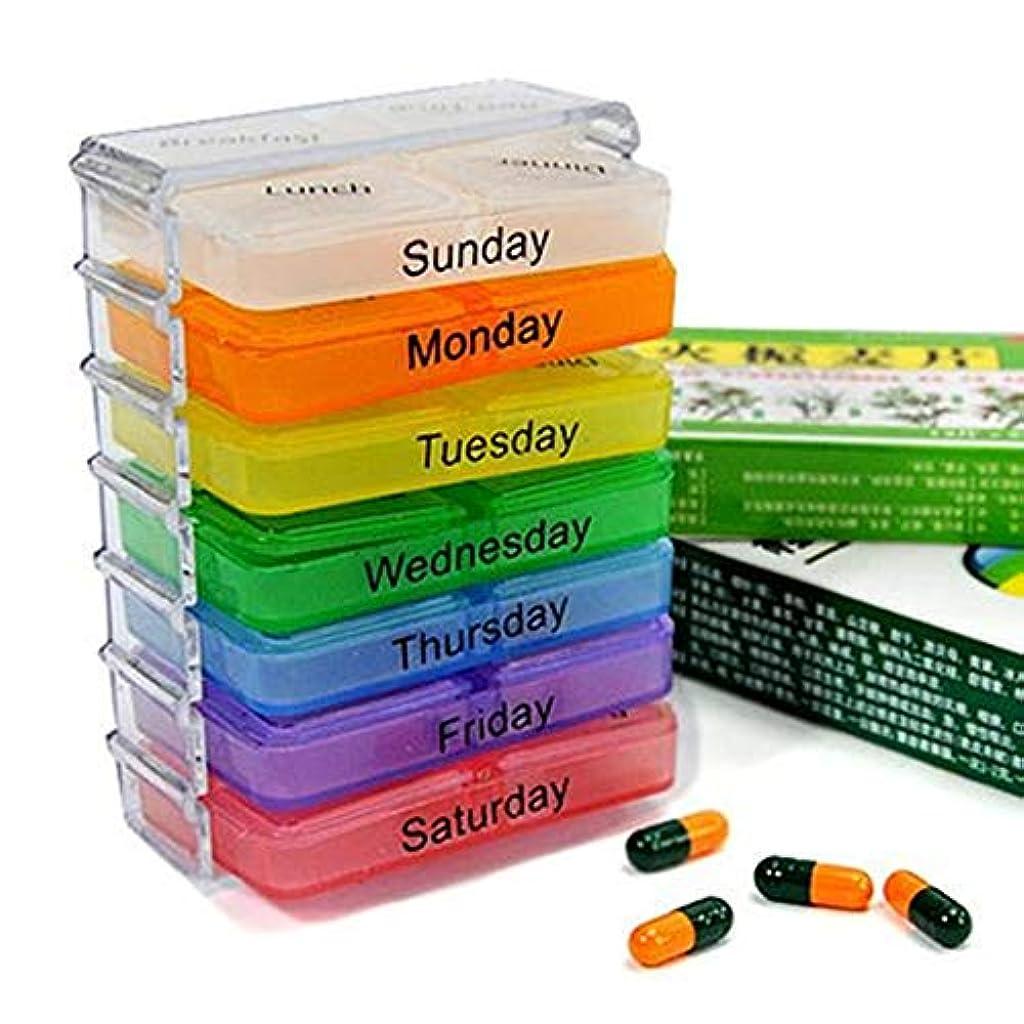 明らか群集比べる薬箱が付いている7層の折る小さい丸薬箱 - 多彩